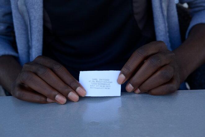 Un des tickets remis par les éducateurs pour manger dans un snack, septembre 2018. © LF