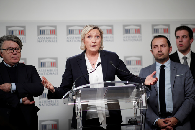Marine Le Pen à l'Assemblée nationale, le 16 avril 2018. © Reuters