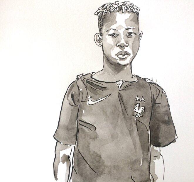 Jean-Joël, 16 ans, cours Belsunce à Marseille, septembre 2018. © LF