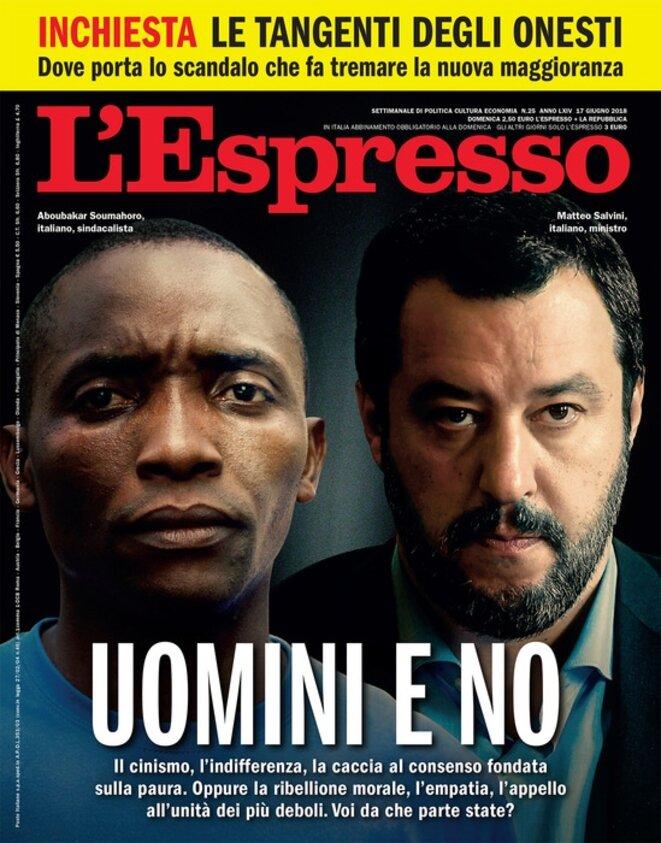 Photo-montage avec le syndicaliste italien Aboubakar Soumahoro et le ministre italien de l'Intérieur Matteo Salvini