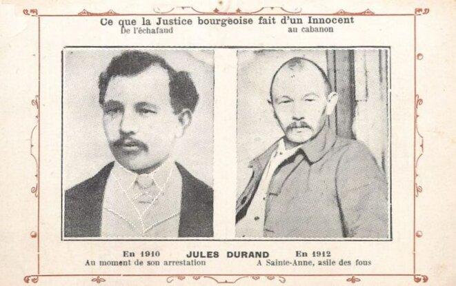 Carte postale éditée début 2012 par le Comité de défense de Jules Durand et adressée massivement au ministère de la Justice (Archives nationales)