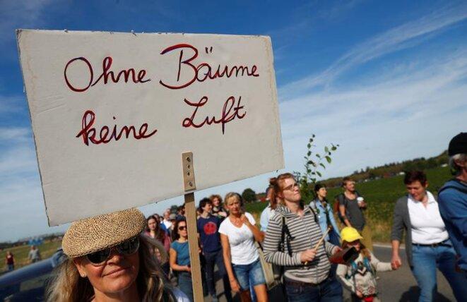 «Sans arbres, pas d'air»: manifestation contre la destruction du bois de Hambach, dimanche. © Reuters