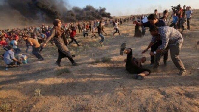 Open Gaza : Barbarie israélienne sur des manifestants révoltés de suffoquer sans fin,  Vendredi 14 septembre 2018 © E'M.C. Palestine