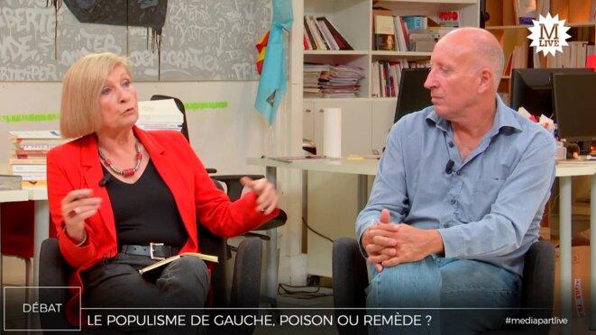 Chantal Mouffe et Christophe Aguiton. © Mediapart