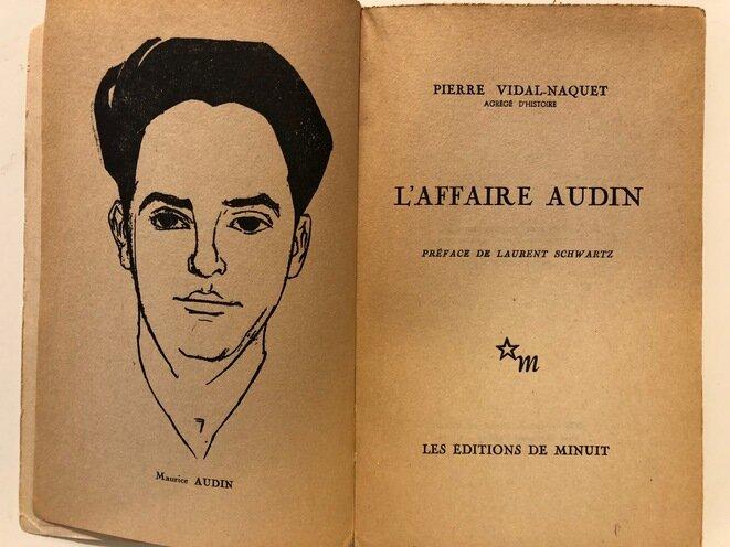"""La primera página del libro """"El affaire Audin"""" con el retrato del joven matemático."""