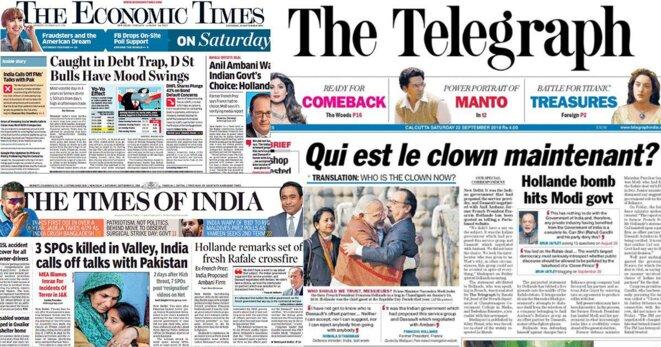 L'affaire des Rafale à la une de la presse indienne ce samedi. © Reuters