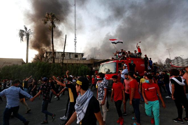 Lors des émeutes à Bassora, en Irak, le 7 septembre 2018. © Reuters