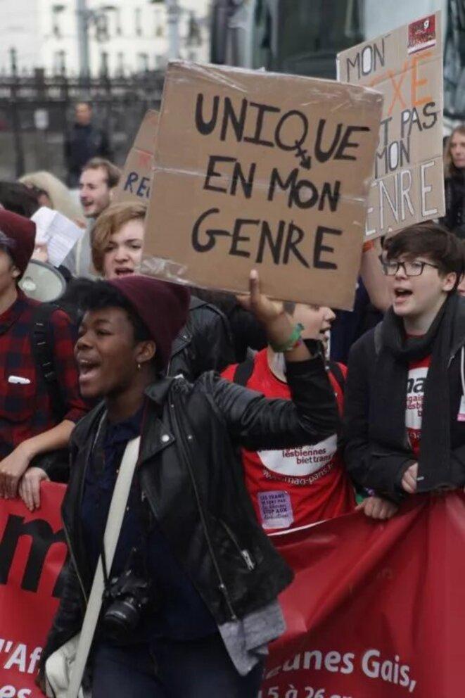 19ème Marche Existrans pour les droits des personnes trans et intersexes à Paris - octobre 2015 © Vincent Palmier - AFP