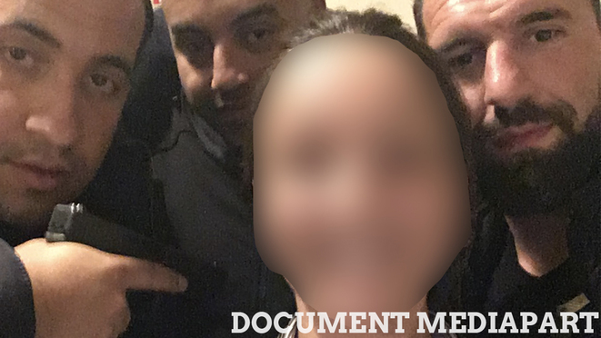 Alexandre Benalla and two other members of the campaign security team pose with a waitress in Poitiers in April 2017. © Mediapart