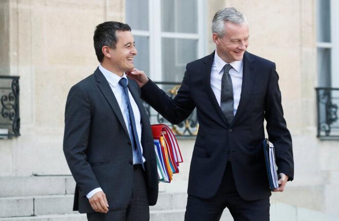 Gérald Darmanin, ministre de l'action et des comptes publics, et Bruno Le Maire, ministre de l'économie et des finances. © Reuters