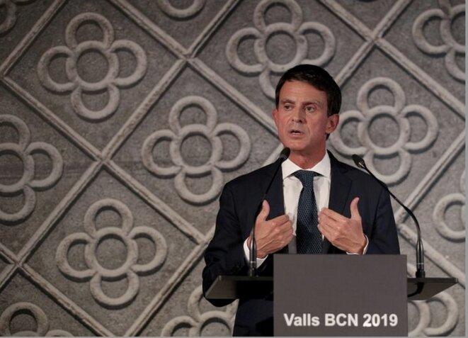 Manuel Valls lors de l'annonce de sa candidature à la mairie de Barcelone, le 25 septembre 2018. © REUTERS/Albert Gea