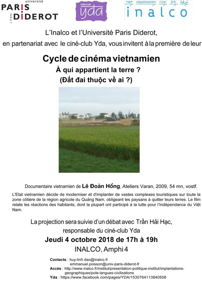 Affiche Cycle de cinéma vietnamien (4octobre 2018) © Inalco & Université Paris 7