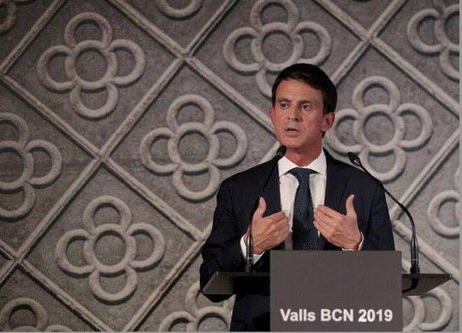 Manuel Valls durante el anuncio de su candidatura a la alcaldía de Barcelona, el 25 de septiembre de 2018. © REUTERS/Albert Gea