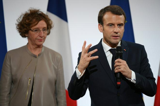 Emmanuel Macron et la ministre du travail Muriel Pénicaud. © Reuters