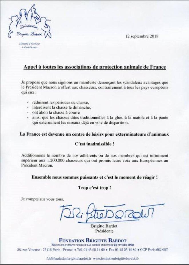 L'appel du 12 septembre 2018 en faveur de la protection animale. © Brigitte Bardot