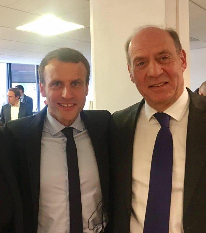 Emmanuel Macron et Jean-Jacques Bridey. © Twitter/@jjbridey94260