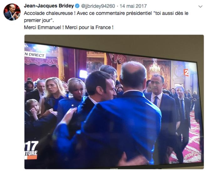 Cérémonie d'investiture d'Emmanuel Macron à l'Élysée, le 14 mai 2017. © Twitter/@jjbridey94260
