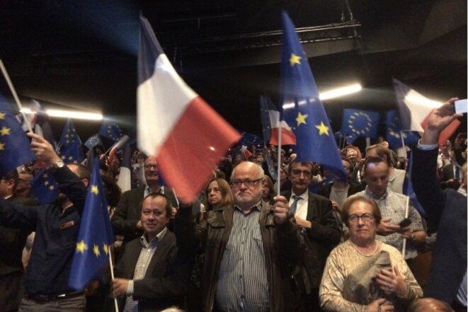 Lors du meeting de lancement de la campagne européenne de LREM, le 26 septembre 2018 à Paris. © MJ