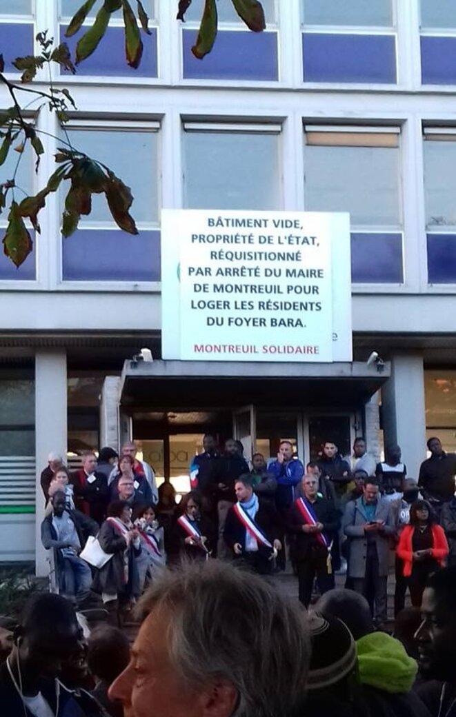 Réquisition de l'immeuble de l'AFPA par le maire de Montreuil, 26 septembre 2018. © DR