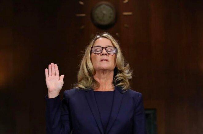 Christine Blasey Ford, jeudi 27 septembre, lors de son audition devant le Sénat. © Reuters