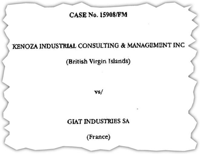 Page de garde de l'arbitrage opposant GIAT à son ancien intermédiaire. © DR