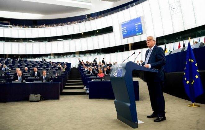 Juncker devant les députés représentant un demi milliard d'Européens pour le discours sur l'état de l'Union 2018 © Services audiovisuels de la Commission Européenne