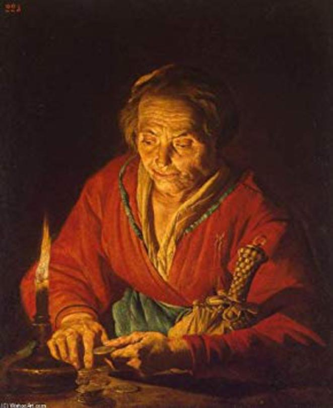 Matthias Stom - Vieille femme avec une bougie
