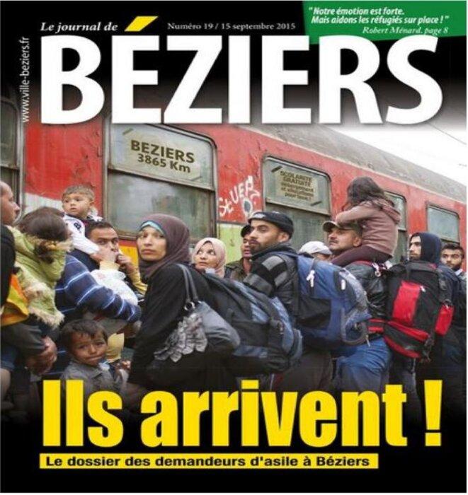 """~Photomontage sur la première de couverture """"fakenews"""" de la Revue municipale de Béziers. © mairie de Béziers"""