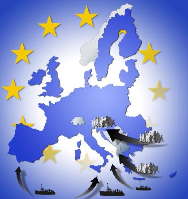 Infographie d'une carte géographique de l'Europe avec des flux migratoires. © © Union européenne, 2015 / Source: EC - Service Audiovisuel / Photo: Cristof Echard