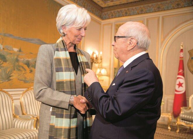Christine Lagarde, présidente du FMI, et Béji Caïd Essebsi, président tunisien © tunisiefocus.com