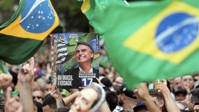 Supporteurs de Jair Bolsonaro à São Paulo, le 30 septembre 2018. © REUTERS/Paulo Whitaker