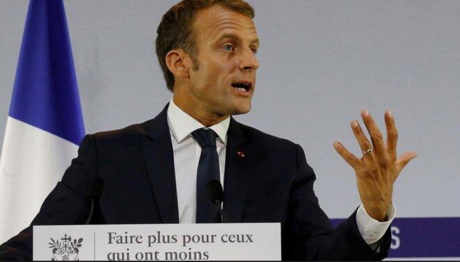 Emmanuel Macron lors de la présentation du plan pauvreté, le 13 septembre 2018. © Reuters