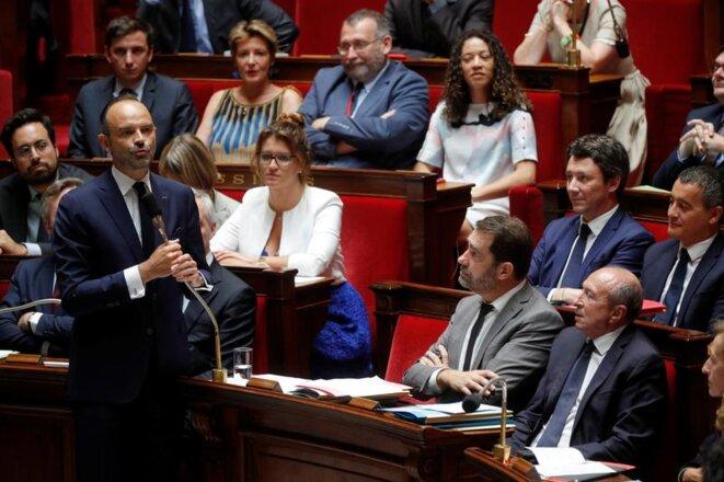 Le premier ministre, Édouard Philippe, à l'Assemblée nationale le 24 juillet 2018. © Reuters/Philippe Wojazer