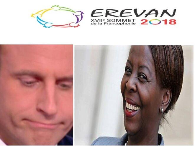 Le président Emmanuel Macron Madame & Mme Louise Mushikiwabo