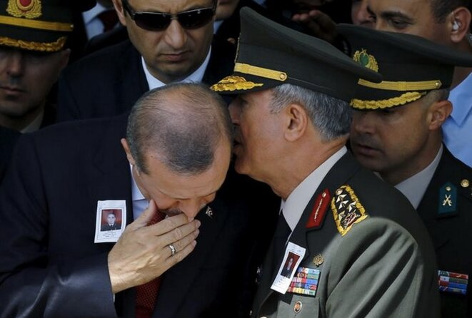 September 10th 2015: President Erdogan with General Hulusi Akar (then head of armed forces, now defence minister) attending the funeral at the Kocatepe mosque in Ankara of police officer Okan Tasan, who was killed in an ambush by Kurdish militants in south-east Turkey. © Reuters