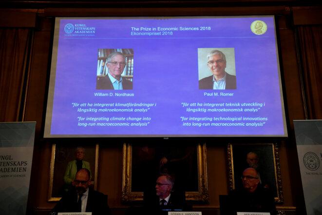 Les lauréats du prix de la banque de Suède en économie en mémoire d'Alfred Nobel. © Reuters