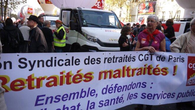 Les retraités étaient aussi mobilisés le 9 octobre à Paris. © D.I