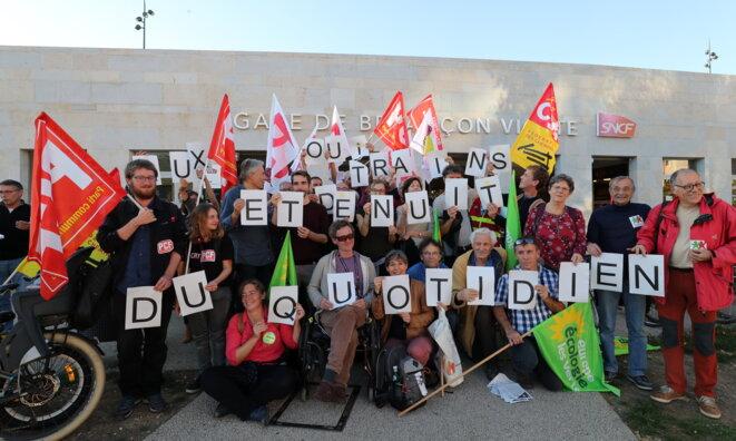 Action à Besançon le 5 octobre 2018 © Arnaud Castagner