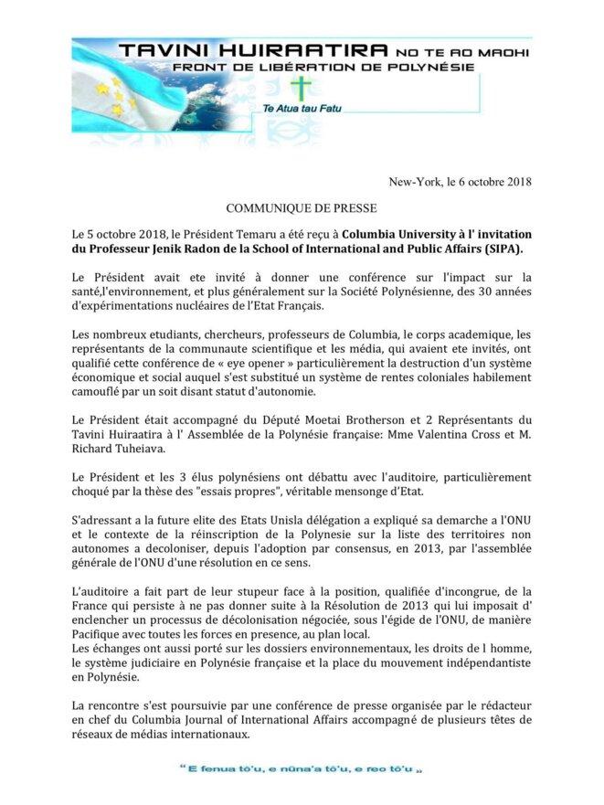 Communiqué du Tavini Huiraatira. Front de Libération de Polynésie.
