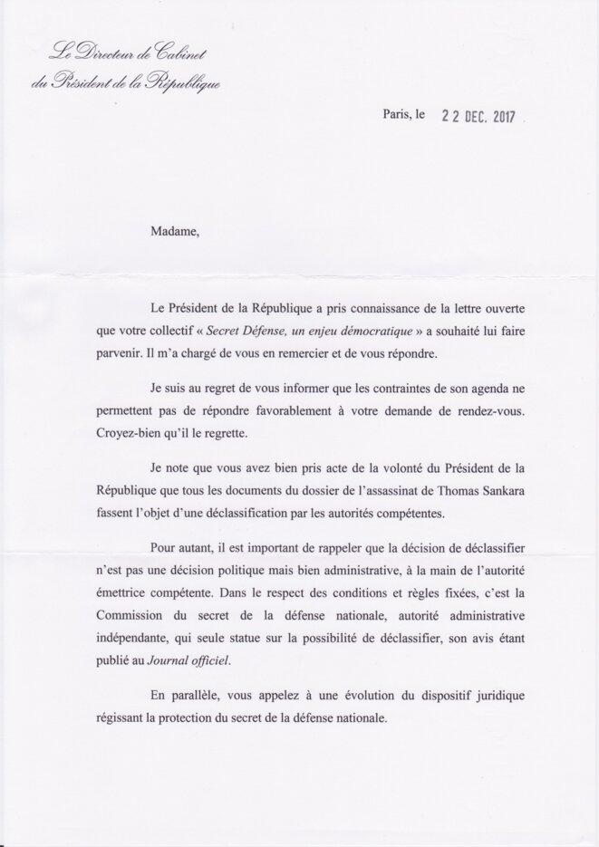 Lettre du Chef de Cabinet d'Emmanuel Macron (1)
