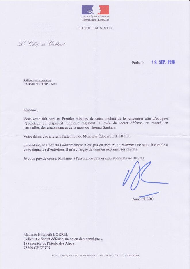 Lettre du Chef de Cabinet d'Edouard Philippe