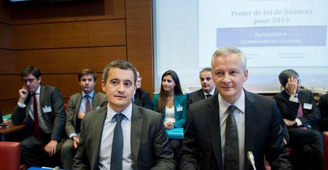 Bruno Le Maire et Gerald Darmanin présentent le projet de loi de finances pour l'année 2019.© CHAMUSSY/SIPA