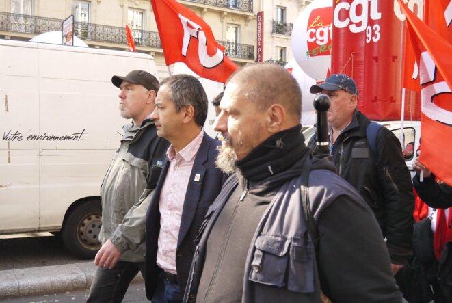 Pascal Pavageau arrivant à la manifestation parisienne du 9 octobre 2018. © D.I.
