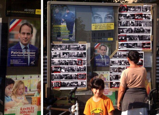 Enfants expulsées devant l'affichage municipal, septembre 2016. © DR