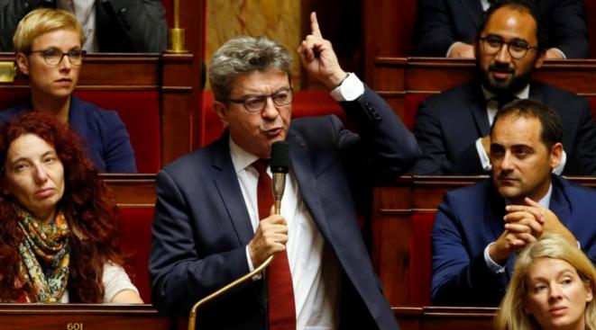 Jean-Luc Mélenchon, mardi 16 octobre, lors des questions d'actualité à l'Assemblée nationale. © Reuters