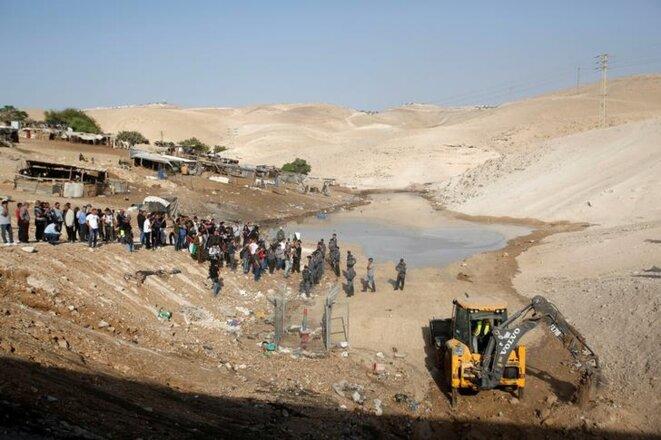 Le village bédouin de Khan Al-Ahmar le 15 octobre. © Reuters