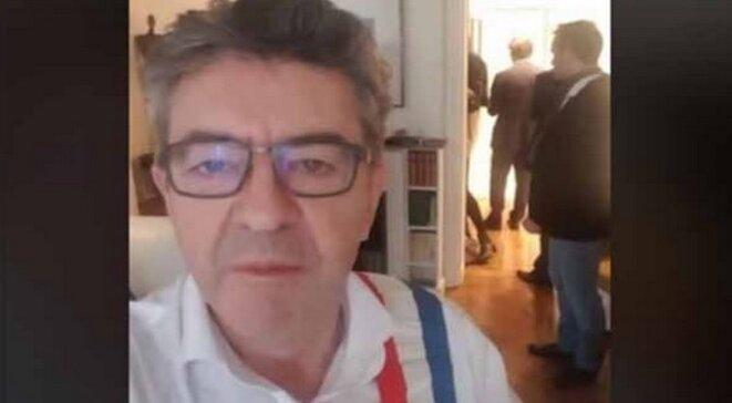 Jean-Luc Mélenchon à son domicile le 16 octobre. © Capture d'écran Facebook