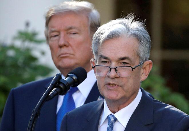 Donald Trump et Jerome Powell, lors de sa nomination à la présidence de la Fed en novembre 2017. © Reuters