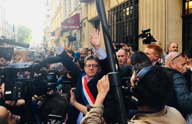 Jean-Luc Mélenchon lors du point de presse le matin de la perquisition au siège de la France Insoumise © Filip FI