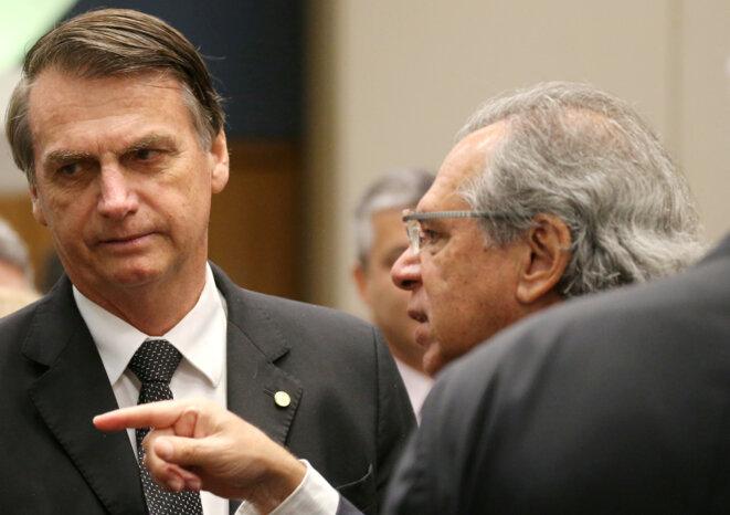 Jair Bolsonaro et son gourou économique Paulo Guedes. © Reuters